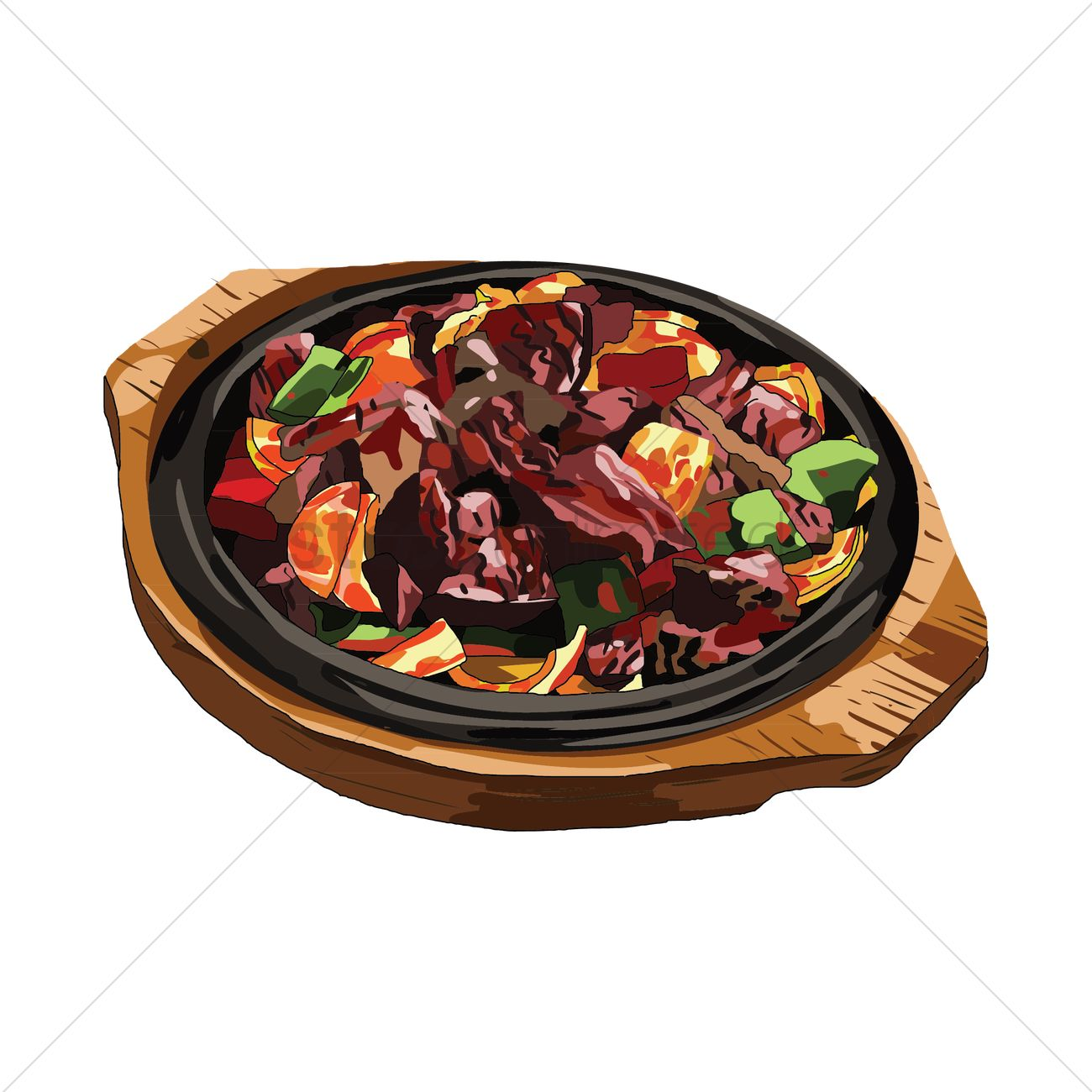 1300x1300 Hotplate Meal Vector Image
