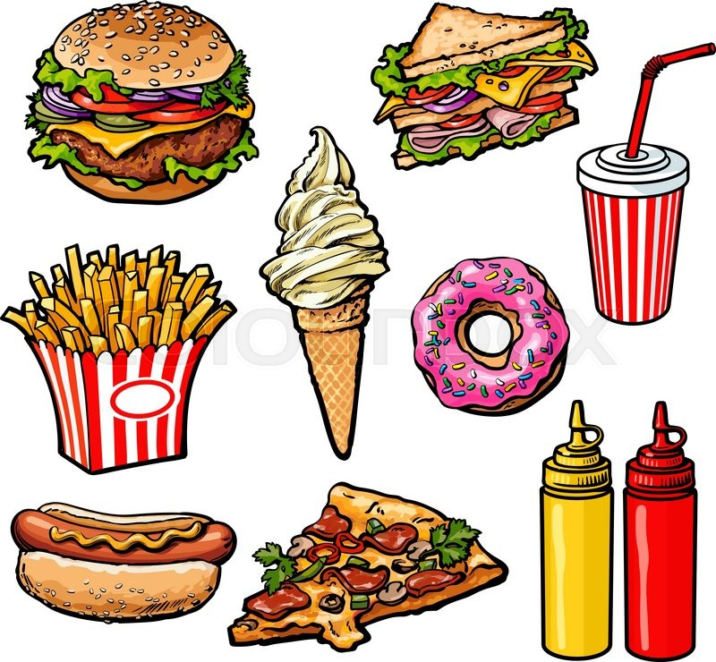 800x740 Set Fast Food Meal, Vector Sketch Hand Drawn Elements Of Fast Food