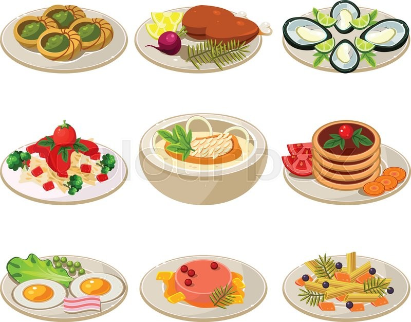 800x626 Set Of Food Icons. European Lunch. Vector Illustration Stock