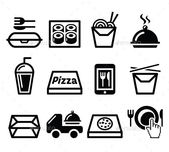 590x533 Take Away Box, Meal Vector Icons Set By Redkoala Graphicriver