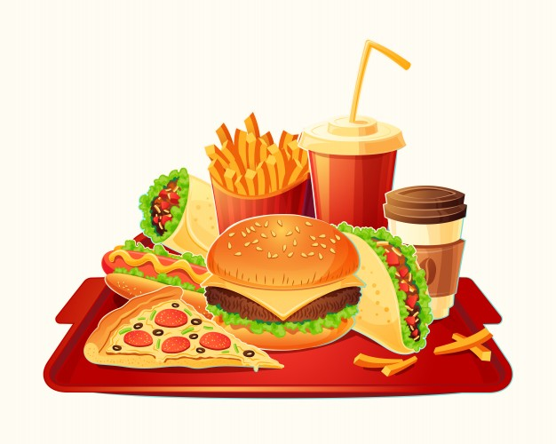 626x500 Vector Cartoon Illustration Of A Traditional Set Of Fast Food Meal