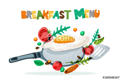 500x334 Breakfast Menu Healthy Meal, Vector Design. Fried Eggs, Tomato