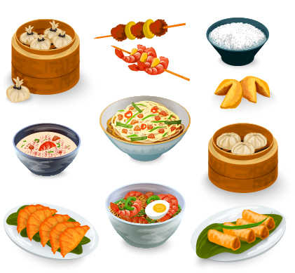 421x389 Chinese Food Vector Material Set 01 Free Download