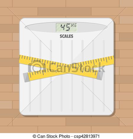 450x470 Bathroom Floor Weight Scale And Measuring Tape. Vector... Vectors