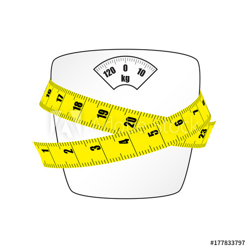 500x500 Scales For Weighing With The Measuring Tape. Vector Image.