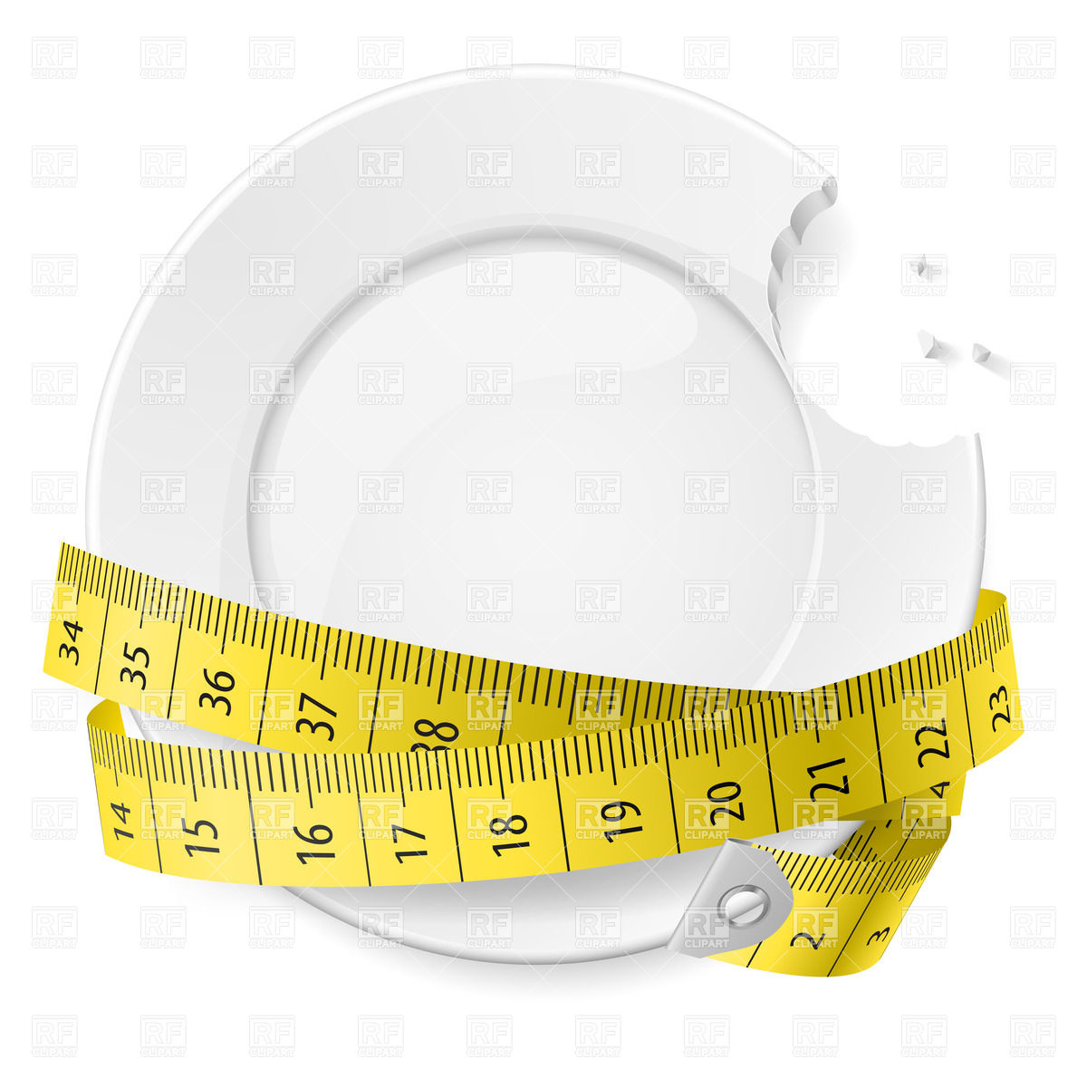 1200x1200 Bitten Plate With Measuring Tape Vector Image Vector Artwork Of