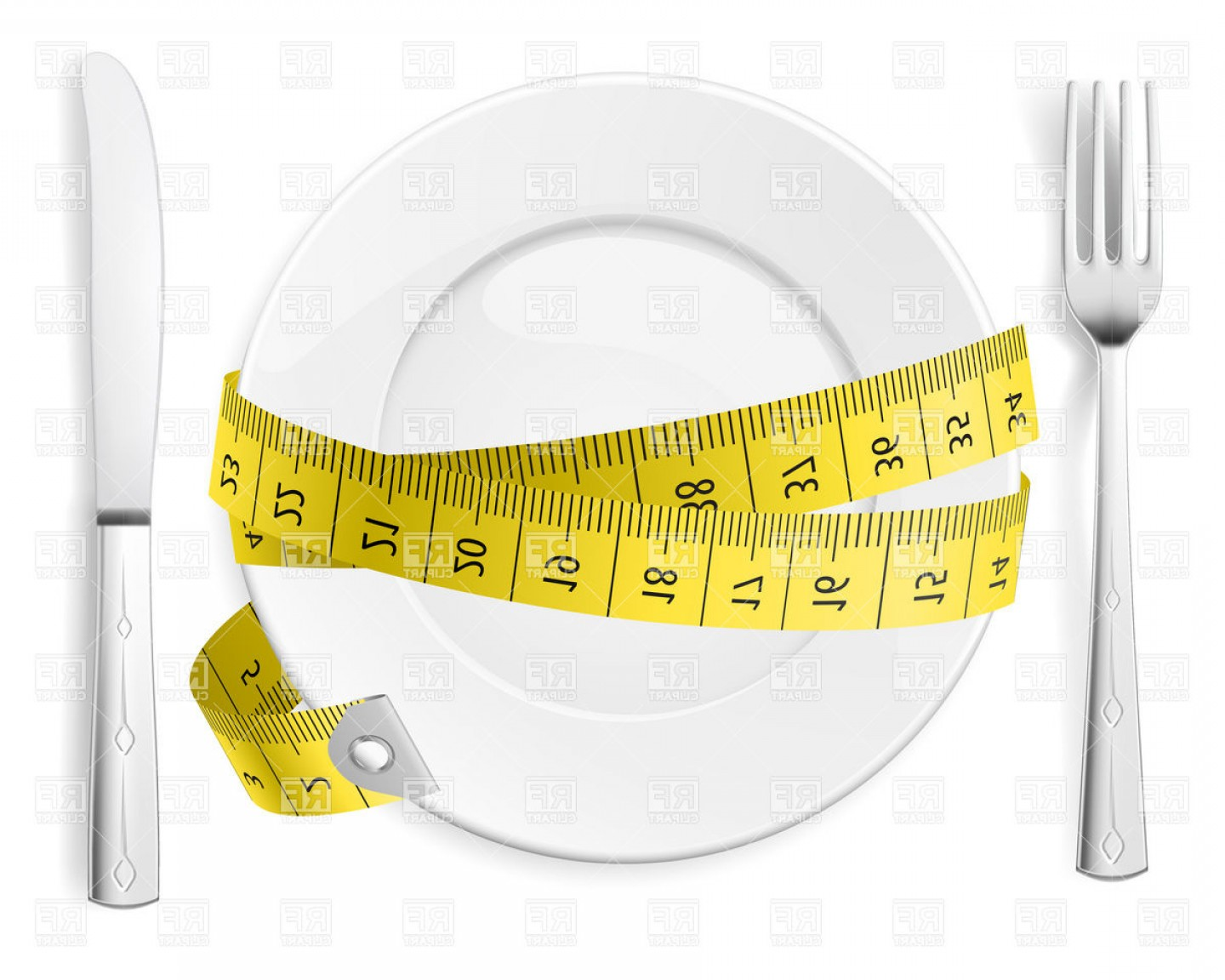 1440x1152 Diet Concept Plate With Knife Fork And Measure Tape Vector Clipart