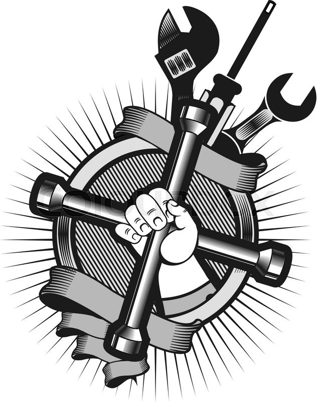 634x800 Vector Logo On A White Background Hand Holding A Mechanical Tools