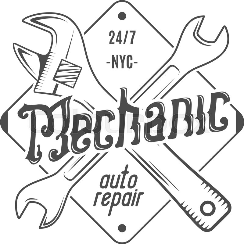 800x800 Vintage Label Design. Mechanic Auto Repair Patch In Old Style With