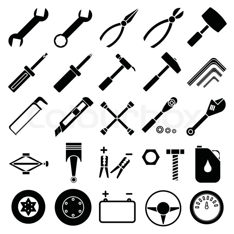 800x800 Image Of Auto Mechanic Tools Set Isolated On White Background