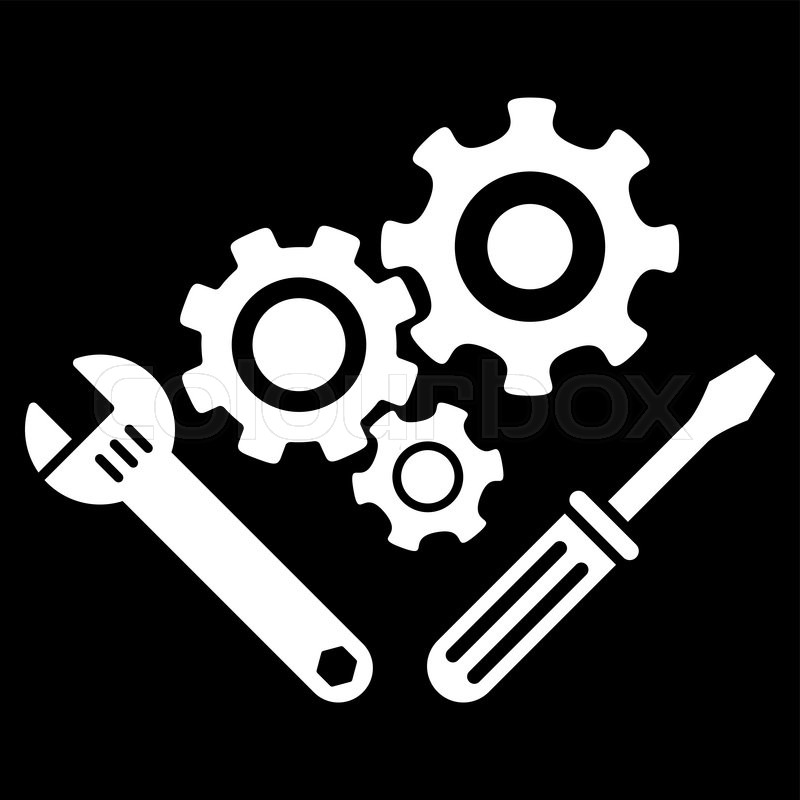 800x800 Mechanics Tools Vector Icon. Style Is Flat Symbol, White Color