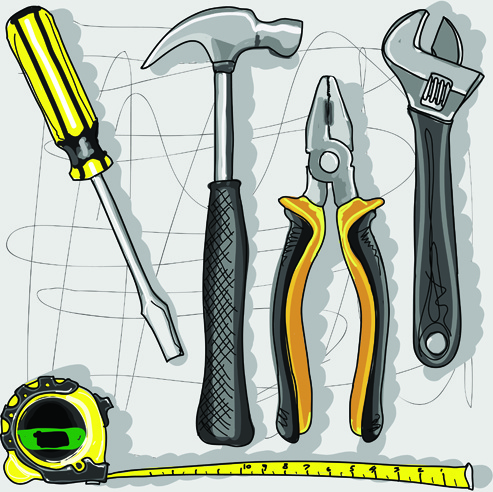 493x492 Set Of Different Repair Tools Vector Graphics Free Vector In
