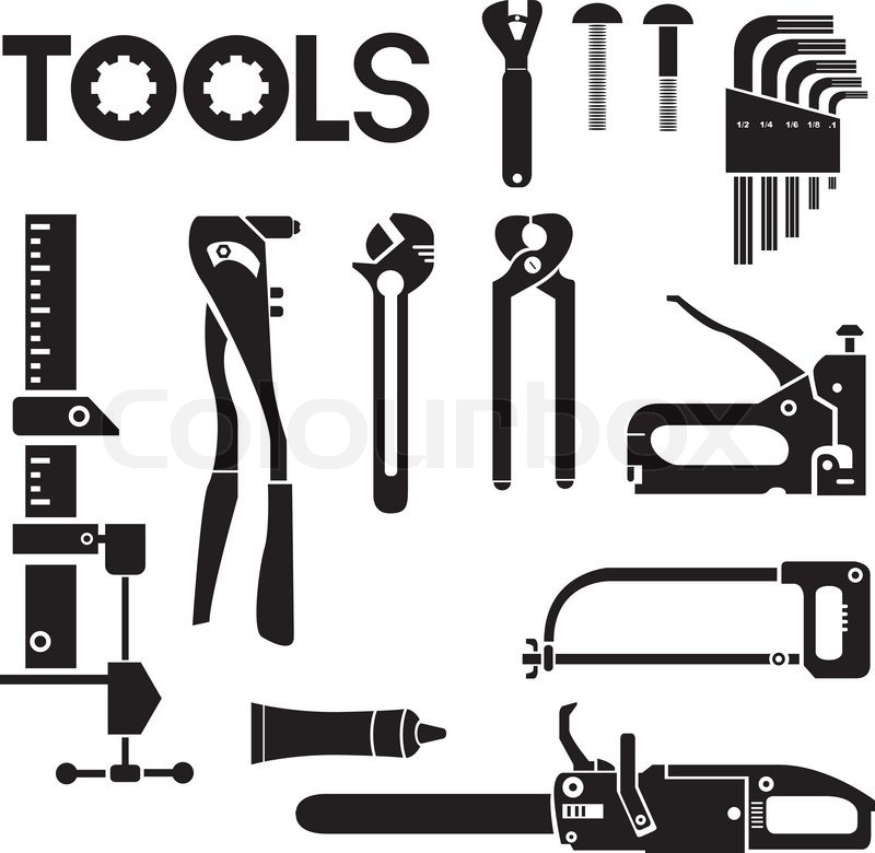 800x780 Tools, Mechanical Equipment Icon Set, Engineering Tools Stock