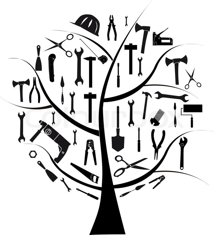 726x800 Vector Tree With Different Tools For Repair Stock Vector Colourbox