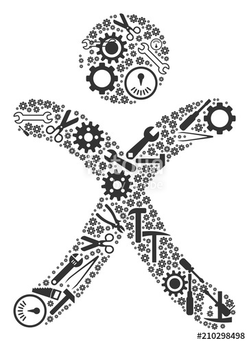 363x500 X Generation Boy Mosaic Of Repair Tools. Vector X Generation Boy