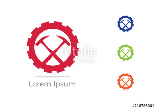 500x350 Mining Icon, Car Repairing Service Logo Design, Hammer In Gear