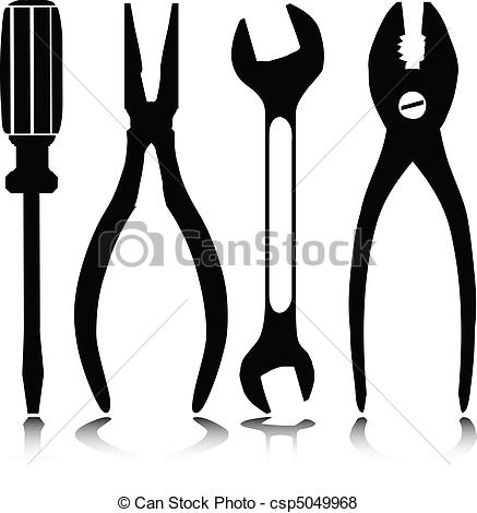 437x470 Home Tools Vector Silhouettes.