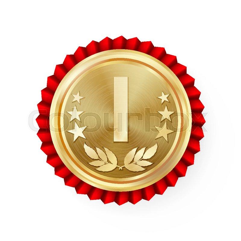 800x800 Gold 1st Place Rosette, Badge, Medal Vector. Realistic Achievement