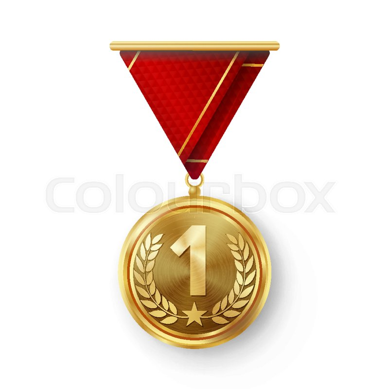 800x800 Gold Medal Vector. Metal Realistic First Placement Achievement