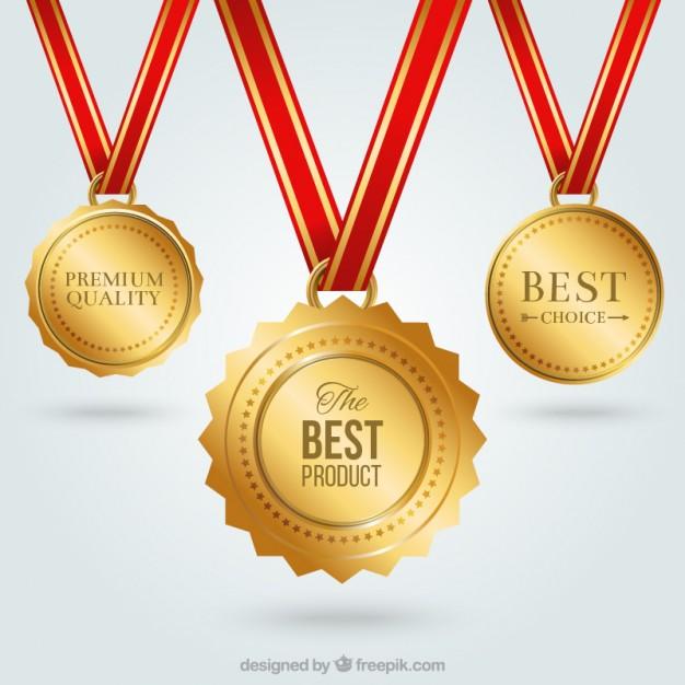 626x626 Golden Medals Vector Free Download