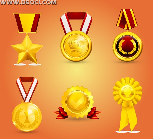 620x564 6 Gold Medals Medals Vector Design Elements Eps Honor The Source