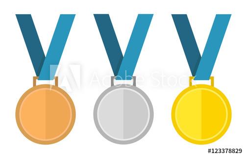 500x318 Medal Vector Set. Gold Medal, Silver Medal, Bronze Medal. Medal
