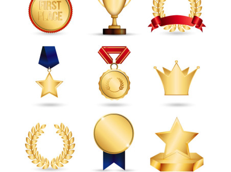 452x336 9 Golden Trophy And Medal Vector Material Icons Free 9 Golden