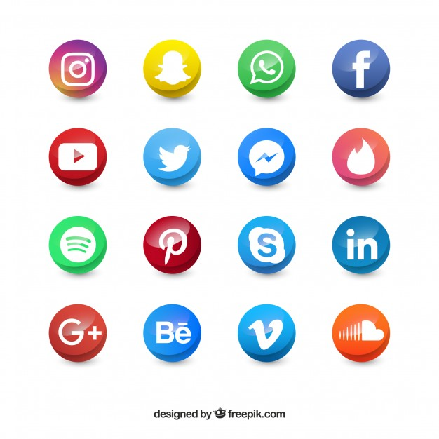 626x626 Colored Social Media Circle Icons Vector Free Download
