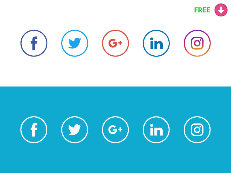 800x600 New Free Social Media Icons With Original Colors