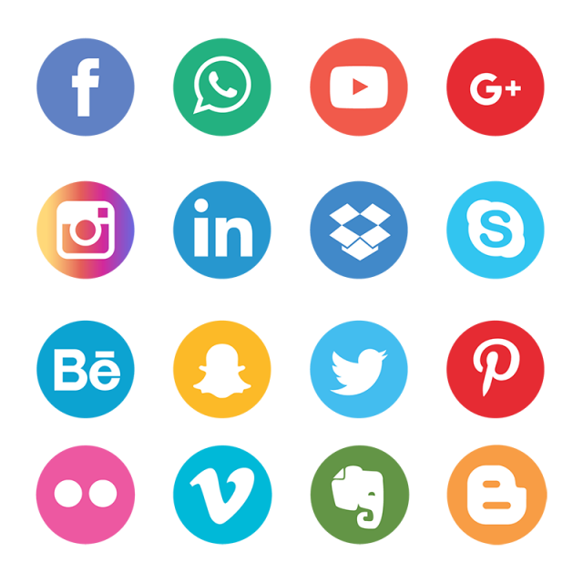 640x640 Social Media Icons Set Network Background. Smiley Face. Share