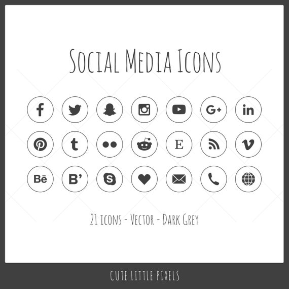 570x570 Vector Social Media Icons 21 Icons Dark Gray Outline Style Etsy