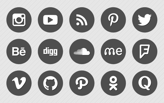 640x400 Premium Round Vector Social Media Icons Social Media Icons