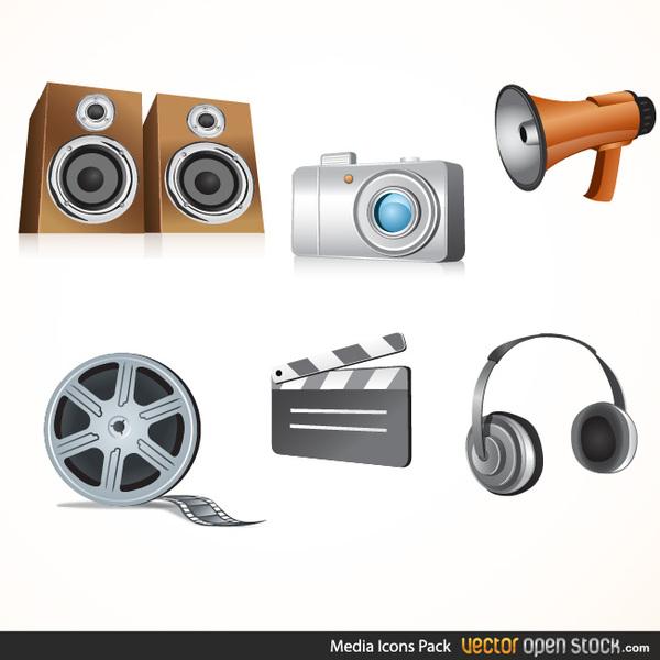 600x600 Free Glossy Media Icon Vectors
