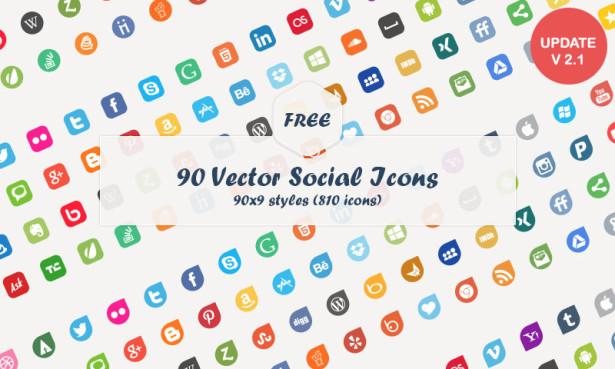 615x369 High Quality Free Social Media Icons