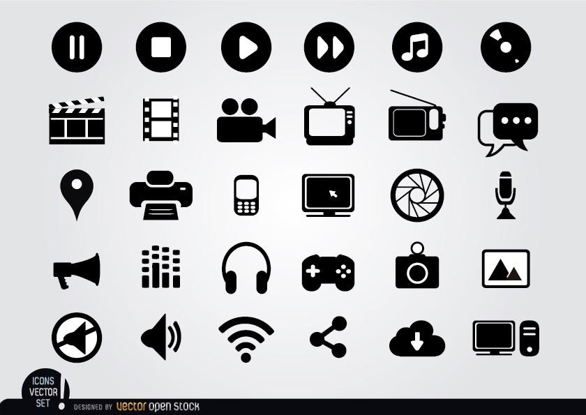 840x595 Multimedia Flat Icons Set