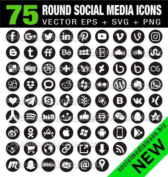 569x600 Black Round Social Media Icons
