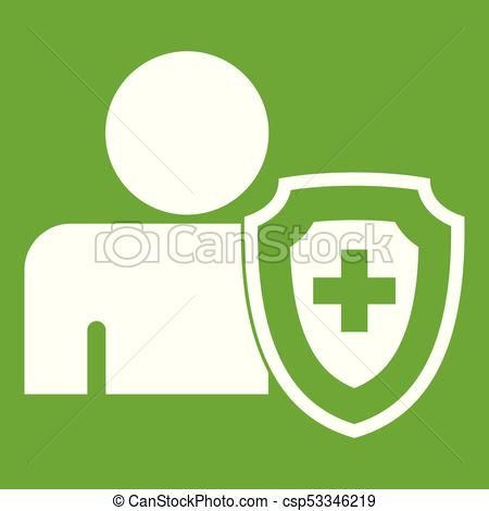 450x470 Person And Medical Cross Protection Shield Icon Green. Person And