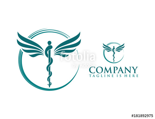 500x382 Classic Circle With Snake Stick And Wings Medicine Logo Symbol