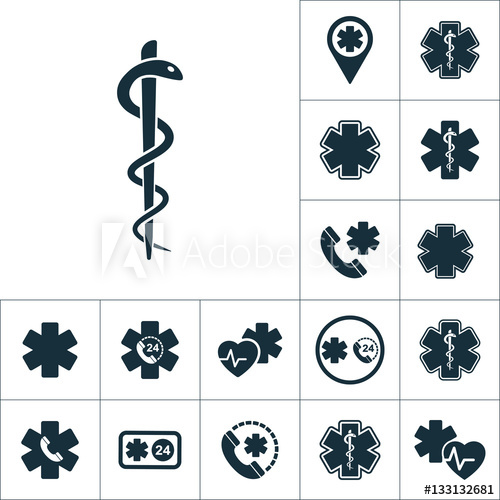 500x500 Medical Snake Symbol Icon, Medical Signs Set On White Background