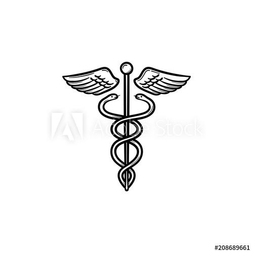 500x500 Caduceus Medical Symbol Hand Drawn Outline Doodle Icon. Medical