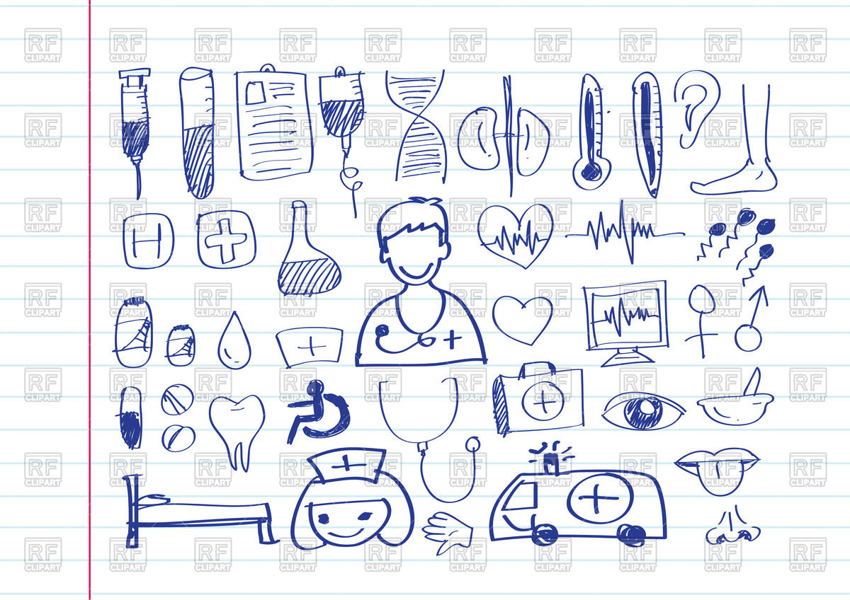 1200x848 Medical Icon Set Hand Drawn Vector Image Vector Artwork Of