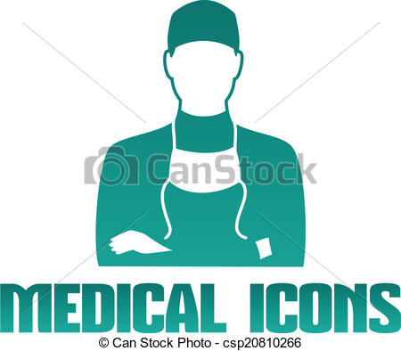 450x394 Medical Icon With Surgeon Doctor. Flat Medical Icon With Male