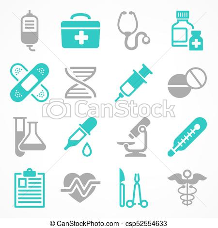 450x470 Medical Icons In Grey Blue. Medical Icons On White, Medicine
