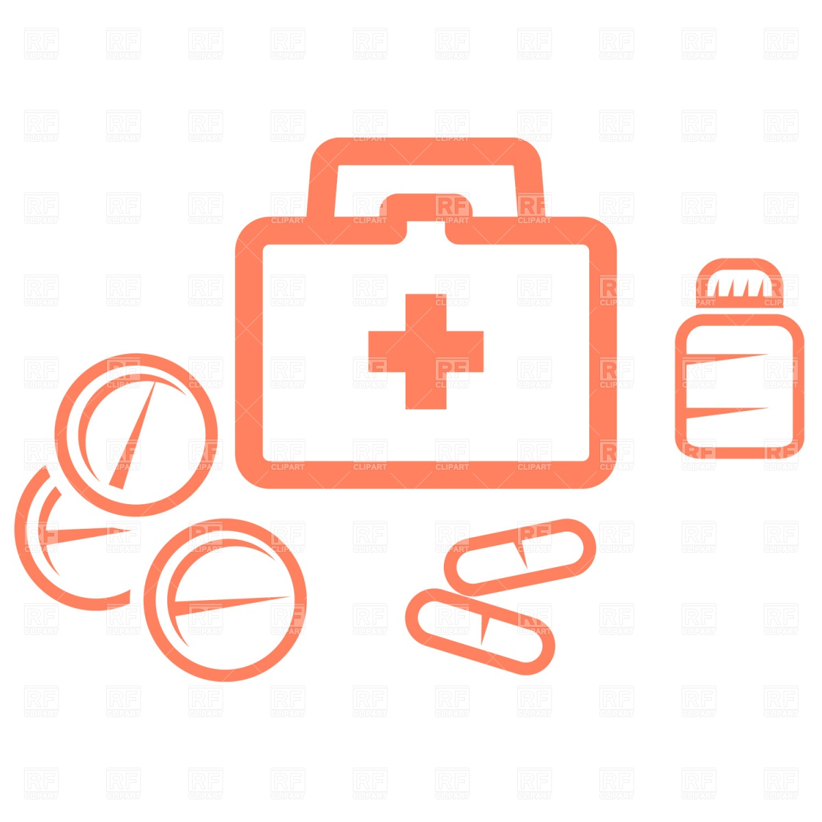 1200x1200 Medical Kit And Pills Vector Image Vector Artwork Of Healthcare