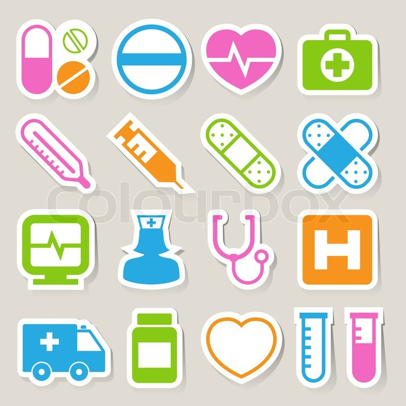 800x800 Medical Sticker Icons Set, Illustration Stock Vector Colourbox