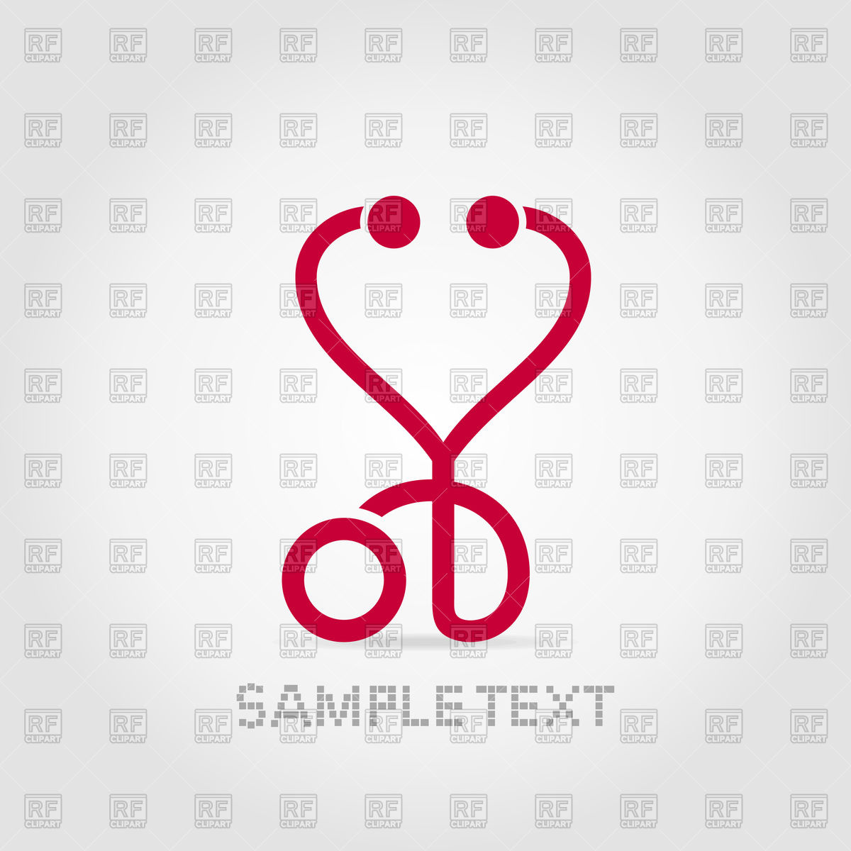 1200x1200 Red Medical Stethoscope In Form Of Heart Vector Image Vector