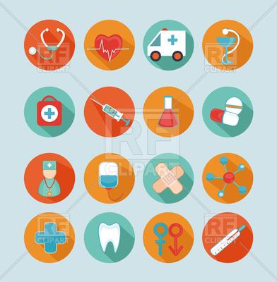 392x400 Set Of 16 Medical Flat Icons, Signs, Symbols Vector Image Vector