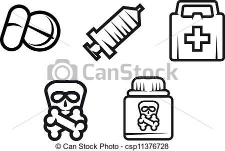 450x303 Medicine Symbols. Set Of Medicine Equipment And Symbols Isolated