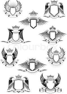 236x331 Coat Of Arms With Wings In Black And White. In 2018 Coat Of Arms