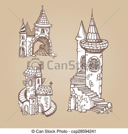 450x470 Hand Drawn Urban Graphic Template Made In Vector. Medieval Castles